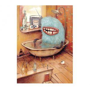 Puzzle de 1000 peças do Zozoville chamado Banheira onde um monstrinho azul toma banho.