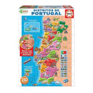 Puzzle de 150 peças da EDUCA com mapa de Portugal e os seus distritos