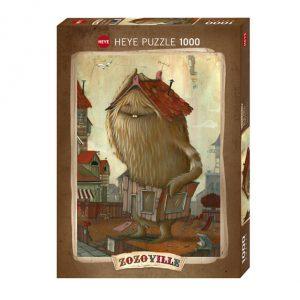 Puzzle Zozoville de 1000 peças de um monstro castanho segura uma fachada de uma casa de madeira à volta da cintura e um telhado na cabeça.