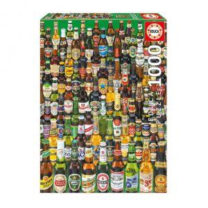 Caixa do puzzle da EDUCA 1000 peças com colagem de várias cervejas do mundo