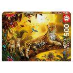 Puzzle 500 Pcs Leopardo com as suas Crias