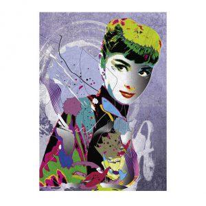 Puzzle de 2000 peças, muito colorido, do artista Cheuk onde Audrey é ilustrada com várias técnicas e com várias cores.