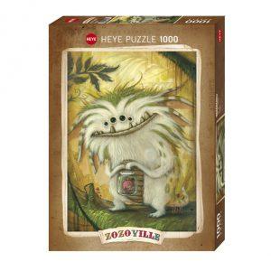 Puzzle Zozoville de 1000 peças chamado Vegetariano onde um monstrinho adorável com vários olhos segura um frasquinho com um pequeno rabanete lá dentro a pedir ajuda.