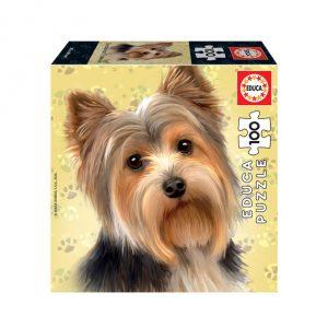 Puzzle de 100 peças com a imagem dum Yorkshire Terrier.