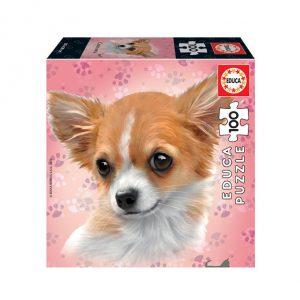Puzzle de 100 peças com a imagem dum Chihuahua.