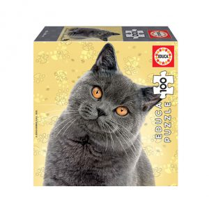 Puzzle de 100 peças com a imagem dum gato British Shorthair