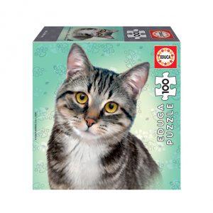 Puzzle de 100 peças com a imagem dum gato europeu
