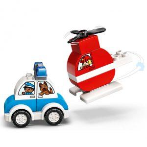 Carro da polícia e helicóptero dos bombeiros do LEGO Duplo