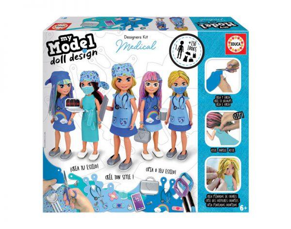 Kit de design com uma boneca médica onde de pode criar vários estilos de roupa e adicionar acessórios, para crianças com mais de 6 anos.
