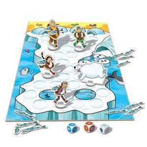 Divertido jogo de tabuleiro Aventura Polar da marca EDUCA para apanhar peixes e fugir do urso polar.