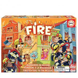 Divertido jogo de tabuleiro Fire (Fogo) da marca EDUCA com bombeiros para salvar personagens, animais e objectos.