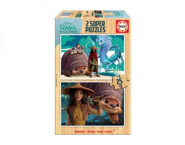 Pack 2 puzzles de 25 peças cada para criança em madeira do filme Disney Raya e o último dragão.