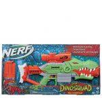 Nerf DinoSquad Rex-Rampage da Hasbro de cor verde e laranja que lança dardos de espuma